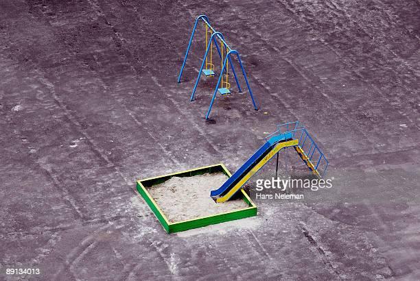 Aerial view of a slide and swings, Kiev, Ukraine