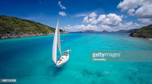 aerial view of a sloop sailing through the Caribbean