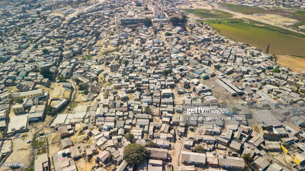 Aerial view of a slum, Benguela Province, Catumbela, Angola on July