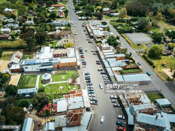 Aerial view of a small rural town in rural Victoria, Australia