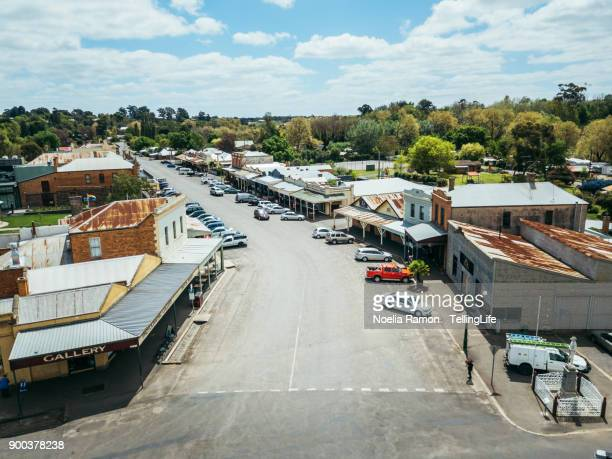 aerial view of a small rural town in rural victoria, australia - town stock pictures, royalty-free photos & images