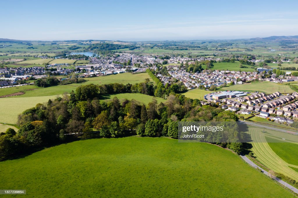 Aerial view of a small rural town in Scotland : Stock Photo