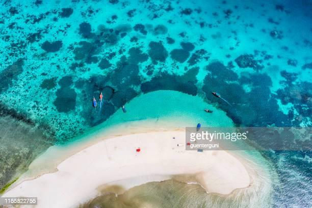 aerial view of a small sandy island, zanzibar, indian ocean - zanzibar stock pictures, royalty-free photos & images