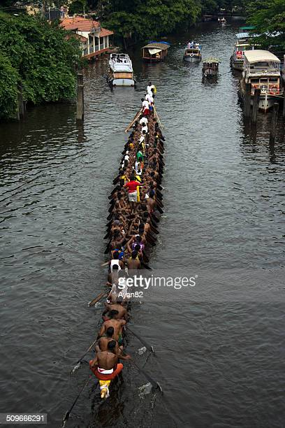Aerial view of a snake boat