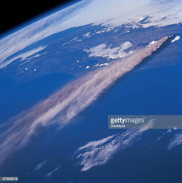 Aerial view of a spacecraft launching from earth