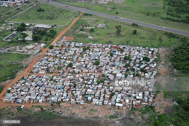 Aerial view of a squatter camp in the Witfontein area, Pretoria, South Africa. November 2012.
