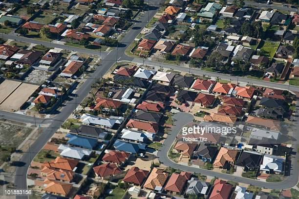 aerial view of a suburb,  melbourne, victoria, australia - melbourne australia stock pictures, royalty-free photos & images