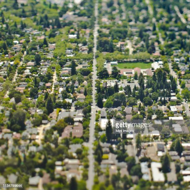 aerial view of a suburban neighborhood - palo alto stock pictures, royalty-free photos & images