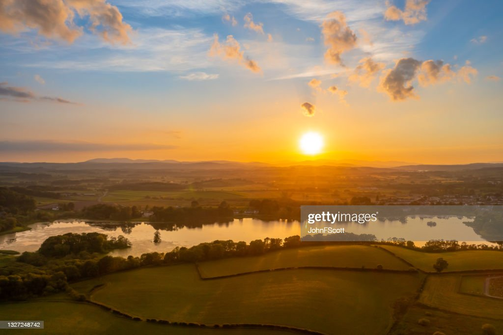 Aerial view of a sunset over Scottish countryside : Stock Photo