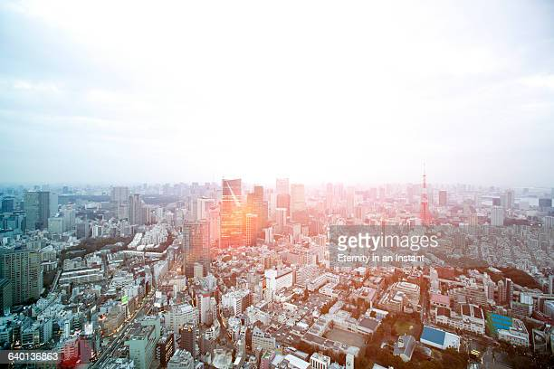 Aerial view of a sunset over Tokyo cityscape