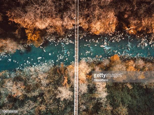 luftaufnahme einer hängebrücke über einen bach und wald - hängebrücke stock-fotos und bilder