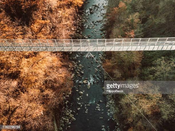 小川と森の上の吊り橋の航空写真 - つり橋 ストックフォトと画像