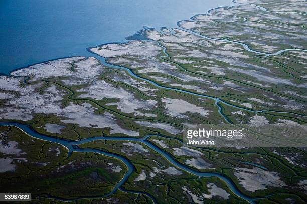 aerial view of a swamp in alaska - estuary stock pictures, royalty-free photos & images