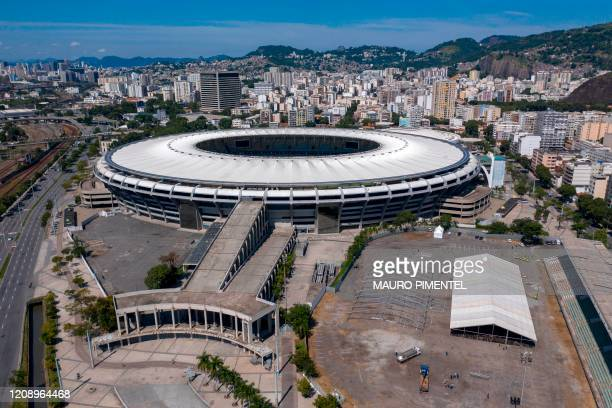 Aerial view of a temporary field hospital set up for coronavirus patients at Maracana stadium complex where the Celio de Barros athletics track used...