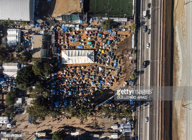 Aerial view of a temporary shelter where Central American migrants mostly from Honduras are staying in Tijuana Baja California State Mexico in the...