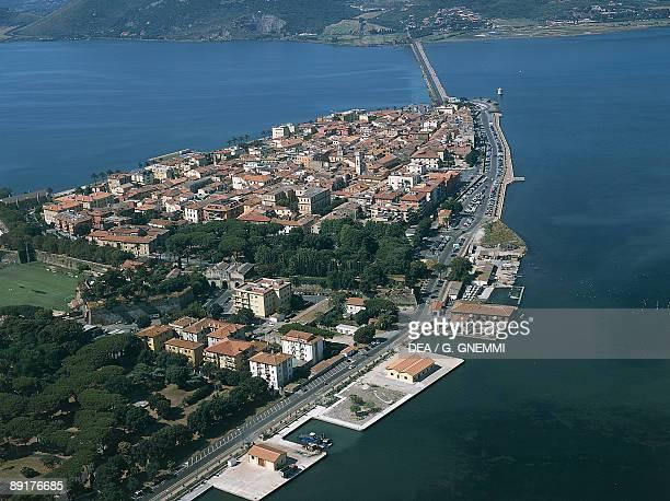 Aerial view of a town at the seaside, Orbetello lagoon, Orbetello, Tuscany, Italy