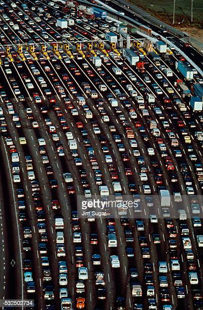 aerial view of a traffic jam - traffic jam stock pictures, royalty-free photos & images