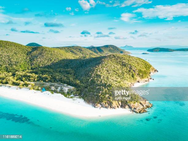 aerial view of a tropical beach headland - queensland stock-fotos und bilder
