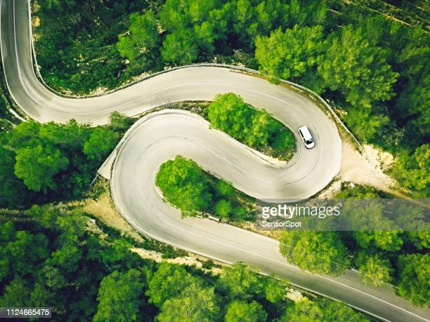 Aerial view of a two lane winding road in a forest with a white car.