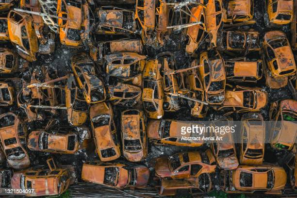 aerial view of a vehicle junkyard, middlesbrough, england, united kingdom - damaged stock pictures, royalty-free photos & images