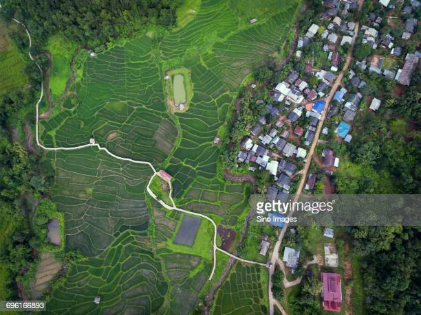 Aerial view of a village and patchwork fields