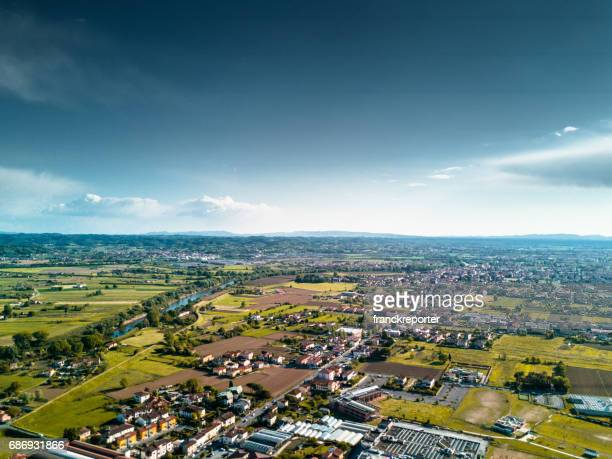 aerial view of a village in italy