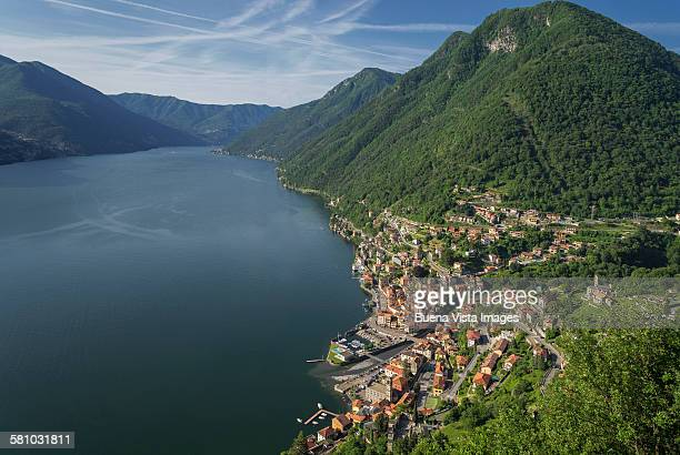 aerial view of a village on Lake Como