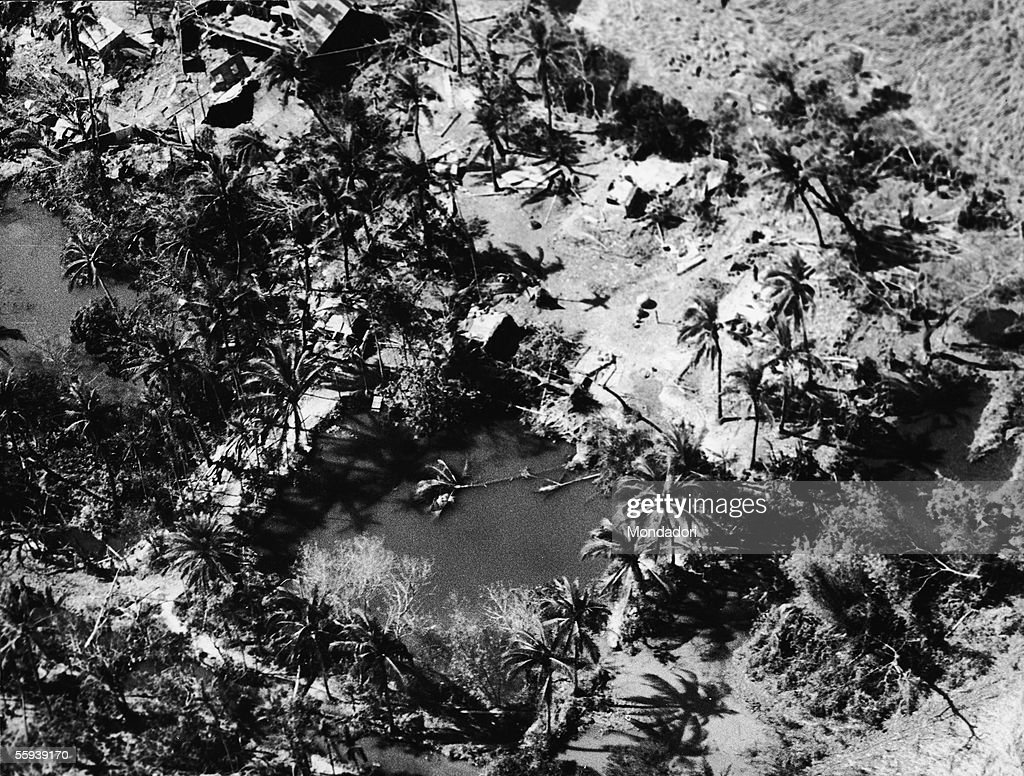 Aerial view of a village on the island of Bhola devastated by the tropical cyclone and tidal wave which hit the area on November 13, 1970, and killed an estimated 200,000 to half a million people, with at least 100,000 missing, in East Pakistan (now Bangladesh), Bhola, East Pakistan, November 29, 1970.