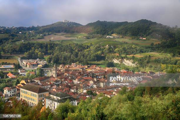 aerial view of a village, varzi, pavia, lombardy, italy - イタリア パヴィア ストックフォトと画像