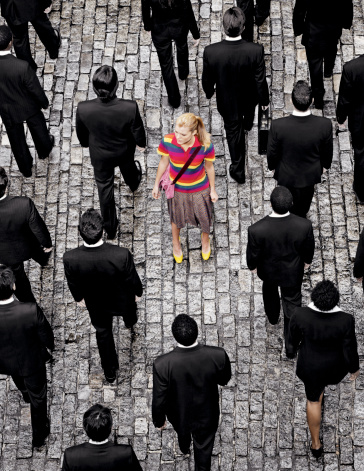 """Aerial view of a Woman """"Standing out"""" on a street - gettyimageskorea"""