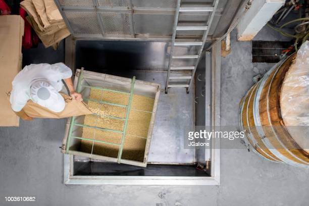 aerial view of a worker in a food processing factory - rice cereal plant stock pictures, royalty-free photos & images