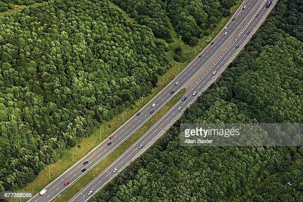 aerial view of a1 highway in newcastle upon tyne - motorway stock pictures, royalty-free photos & images