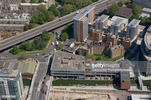 Aerial View of A40 and canal near Paddington London