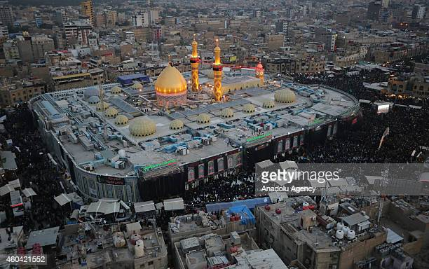 Aerial view of Abbas ibn Ali's shrine is seen as Shi'ite people gather during the Arba'een ceremony in the holy city of Karbala southern Iraq on...