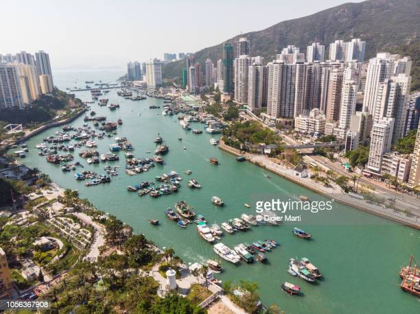 Aerial view of Aberdeen harbour in Hong Kong