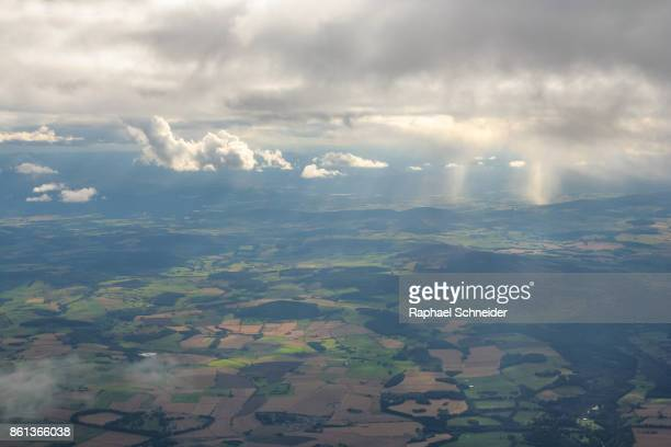 Aerial view of Aberdeenshire, Scotland in changeable weather