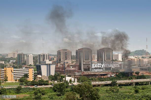 aerial view of abuja, nigeria - abuja stock pictures, royalty-free photos & images