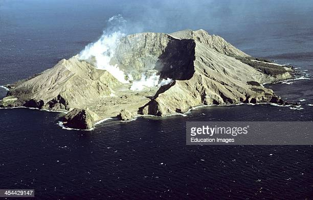 Aerial view of active volcano breached crater 1075ft rising from the sea floor Sulphur mining tried but men killed White Island Bay of Plenty New...