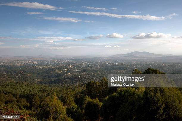 aerial view of addis ababa and green hill around - addis ababa stock pictures, royalty-free photos & images