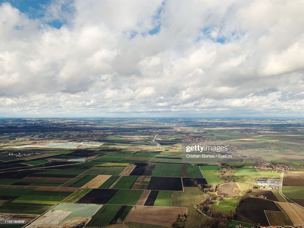 Aerial View Of Agricultural Field Against Sky : Stock Photo