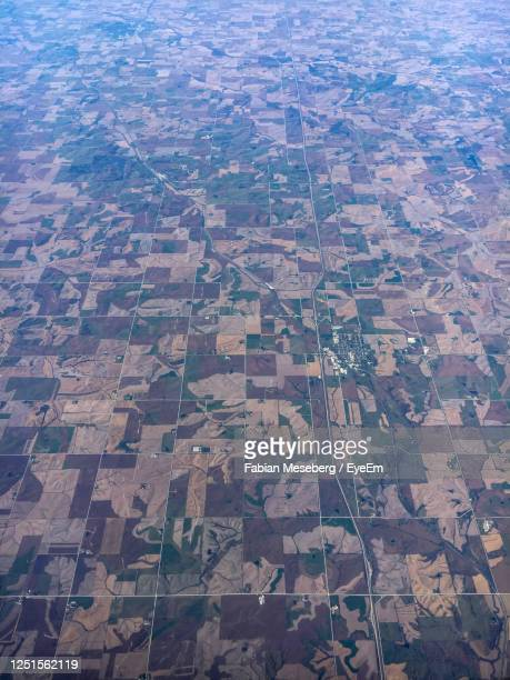 aerial view of agricultural field in iowa, united states - midwest usa stock pictures, royalty-free photos & images