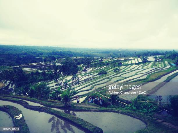 Aerial View Of Agricultural Landscape Against Sky