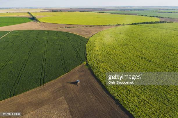 aerial view of agriculture field in shape of circles - ukraine stock pictures, royalty-free photos & images