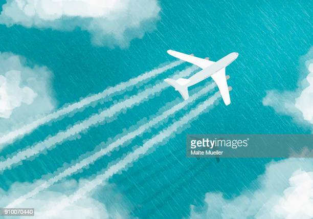 aerial view of airplane flying over sea - illustration stock pictures, royalty-free photos & images