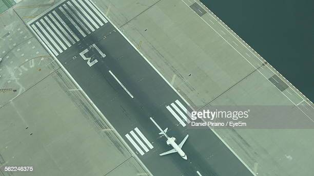 Aerial View Of Airplane On Laguardia Airport