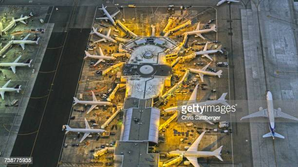 Aerial view of airport, Los Angeles, California, United States