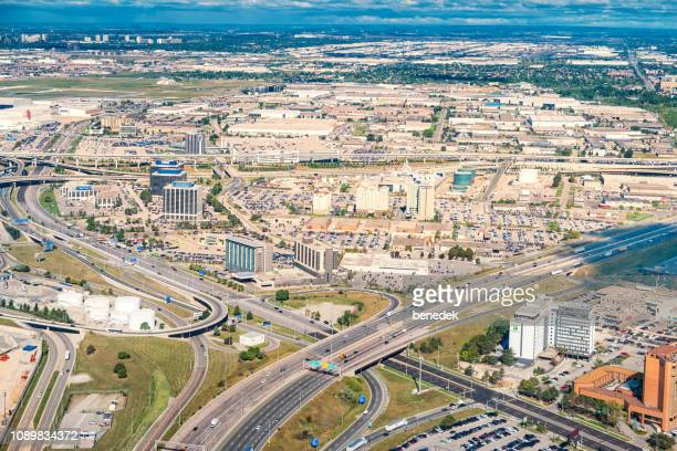 aerial view of airport road area in mississauga ontario canada - mississauga stock pictures, royalty-free photos & images
