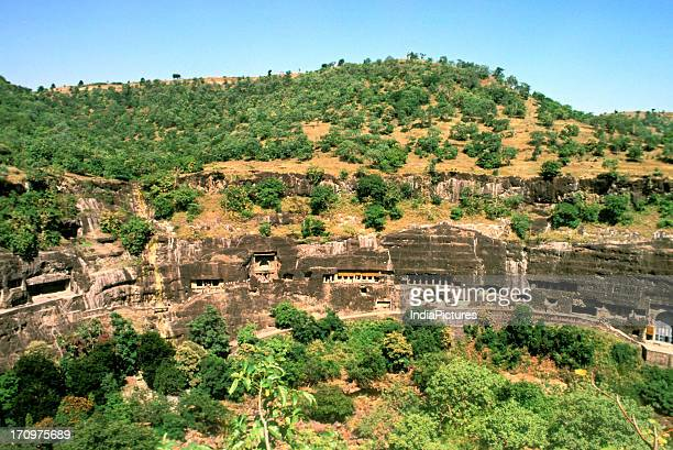 Aerial view of Ajanta and Ellora caves Maharashtra India