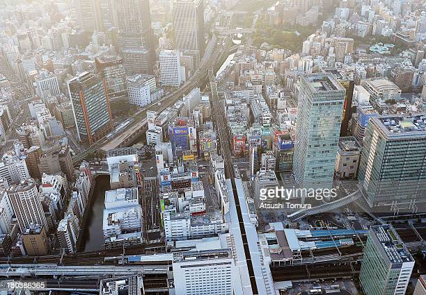 Aerial view of Akihabara area on September 12 2013 in Tokyo Japan Tokyo was selected as the site of the 2020 Olympics