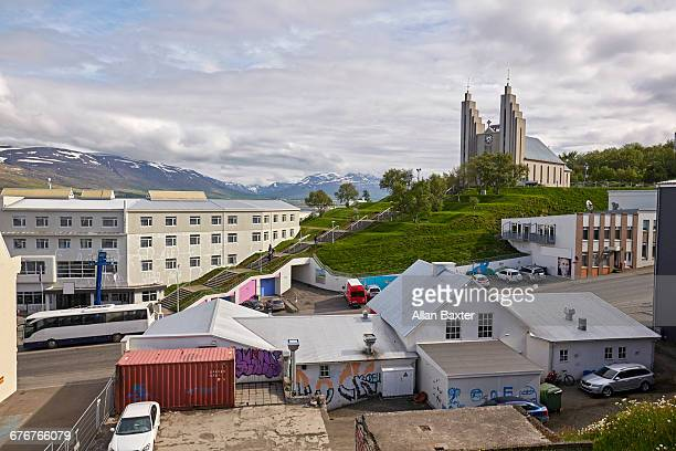 Aerial view of Akureyri in Iceland